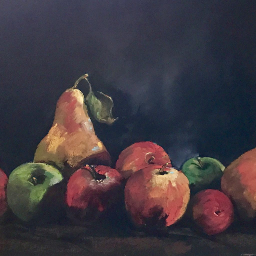 Two Green Apples pastel (SOLD)