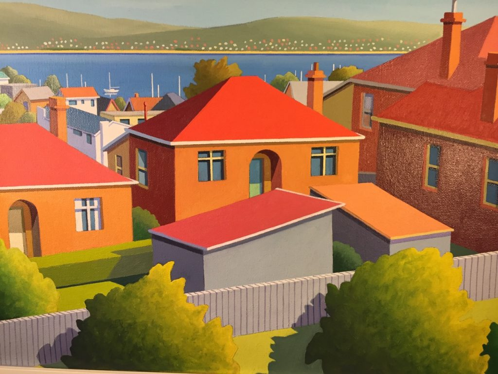 'Regent Street' - acrylic on canvas - 34 cm H x 44 cm W - frame 48 cm H x 58 cm W