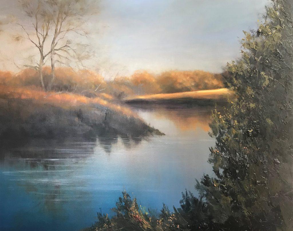 'North Esk River St Leonards' - oil on linen - 98 cm H x 122 W