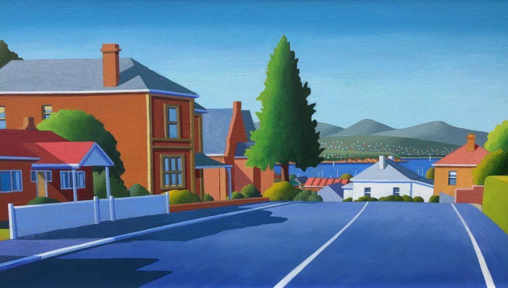 'Princess Street' - acrylic on canvas - 29 cm H x 59 cm W - frame 44 cm H x 74 cm W