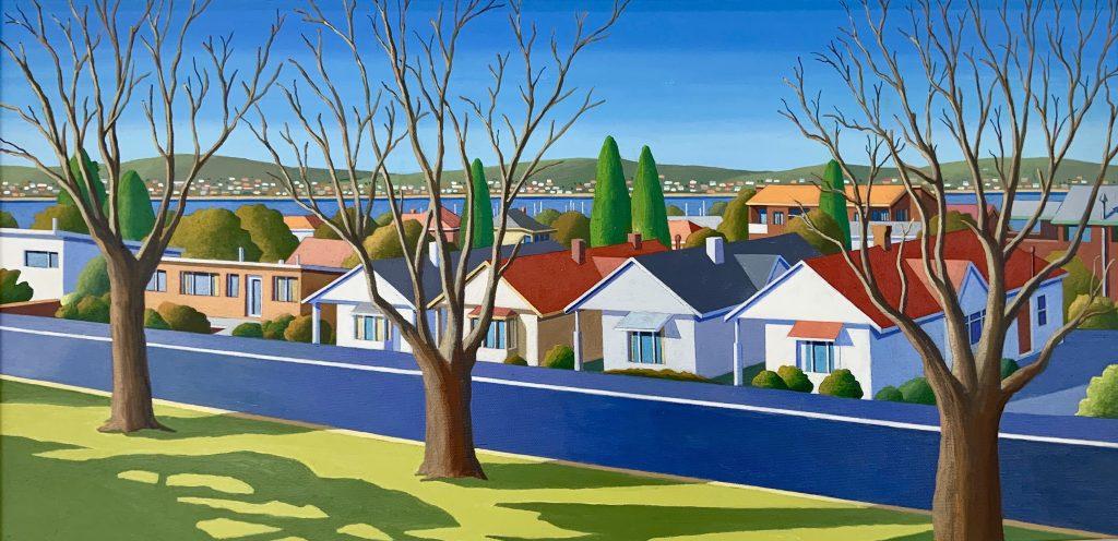 'Digney Street' - acrylic on canvas - 37 cm H x 74 cm W - frame 52 cm H x 90 cm W