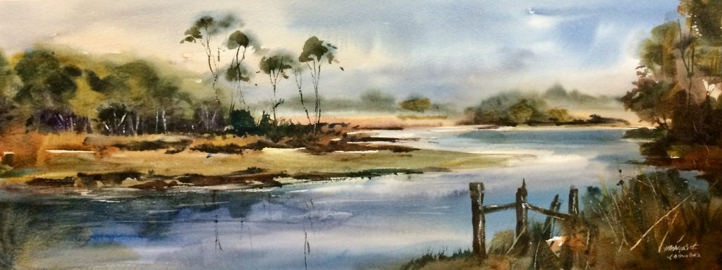 'Summer Delight - Forth River' - watercolour - 25 cm H x 68 cm W - frame 45 cm H x 87 cm W