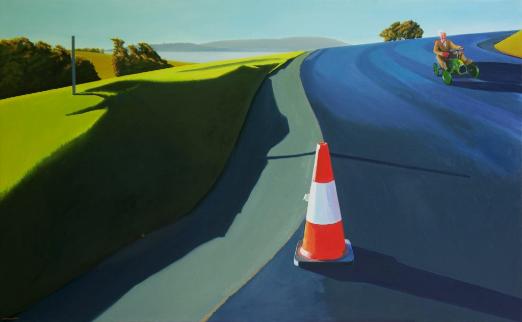 'Ragged Cone and Racy Royal (Look Mum, no brakes!)' - oil on linen - 94 cm H x 152 cm W - frame 97 cm H x 155 cm W