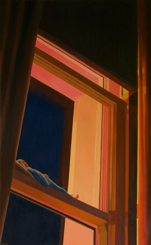 'View from My Pillow (Room 3 Old Bank)' - oil on linen - 152 cm H x 94 cm W - frame 155 cm H x 97 cm W