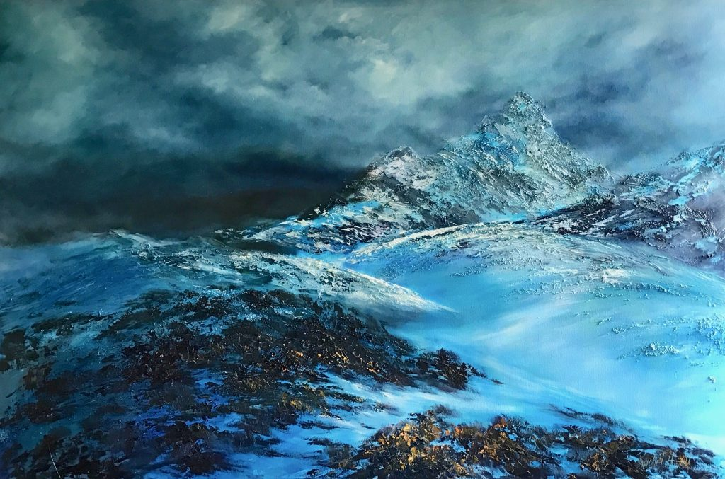 Mount Anne Snow oil on canvas 102 cm H x 152 cm W (SOLD)