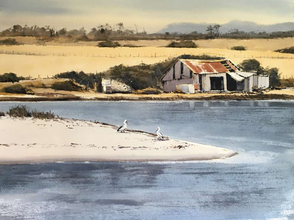 'Little Swanport river mouth from the Saltworks' - watercolour - 52 cm H x 72 cm W