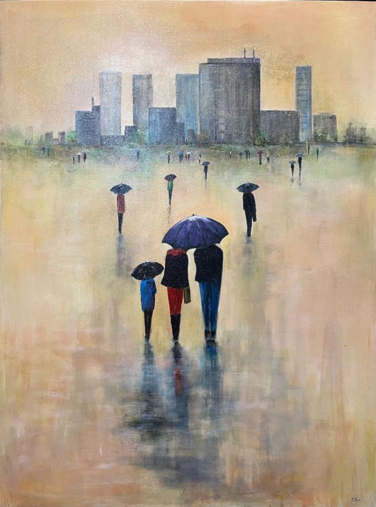 'Early Morning' - SOLD - acrylic on canvas - 122 cm H x 91 cm W - frame 125 cm H x 94 cm W