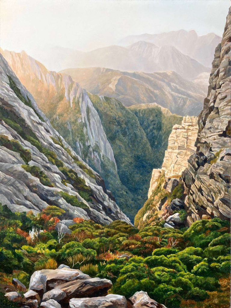 16. 'Morning Glory in the Western Arthurs' - SOLD - oil on board - painting 61 cm H x 45 cm - frame 80 cm H x 64 cm W