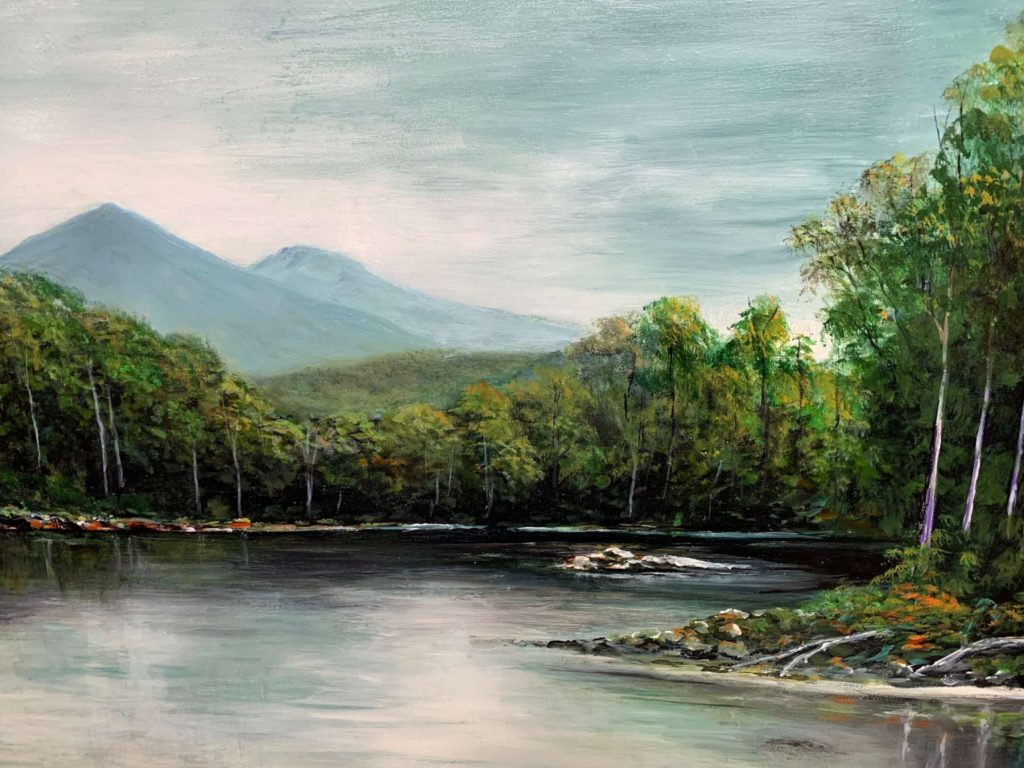 'Quiet Repose' - Cockle Creek - SOLD - acrylic on board - painting 54 cm H x 73 cm W - frame 67 cm H x 87 cm W