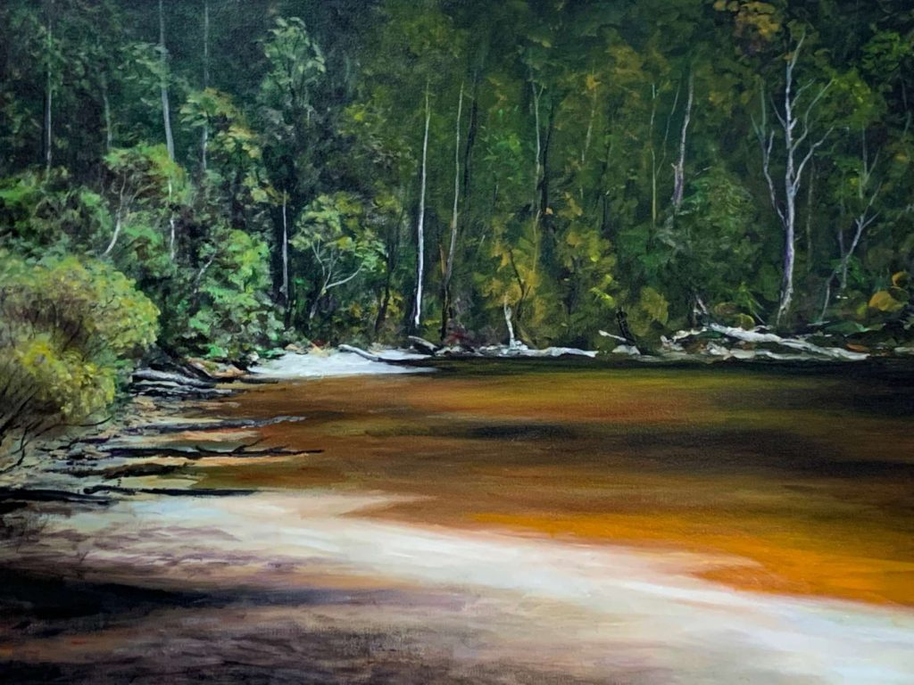 'Little Inlet' - Cockle Creek, acrylic on canvas, painting 76 cm H x 102 cm W, not framed