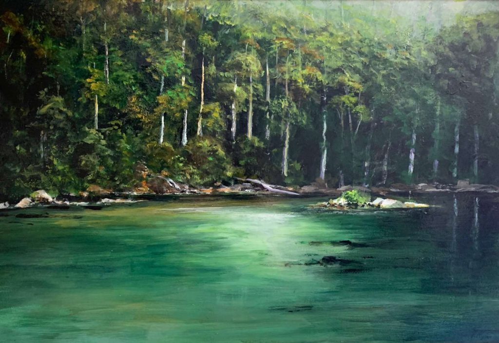 'Across the River' - Cockle Creek - SOLD - acrylic on board - painting 49 cm H x 75 cm W - frame 60 cm H x 89 cm W