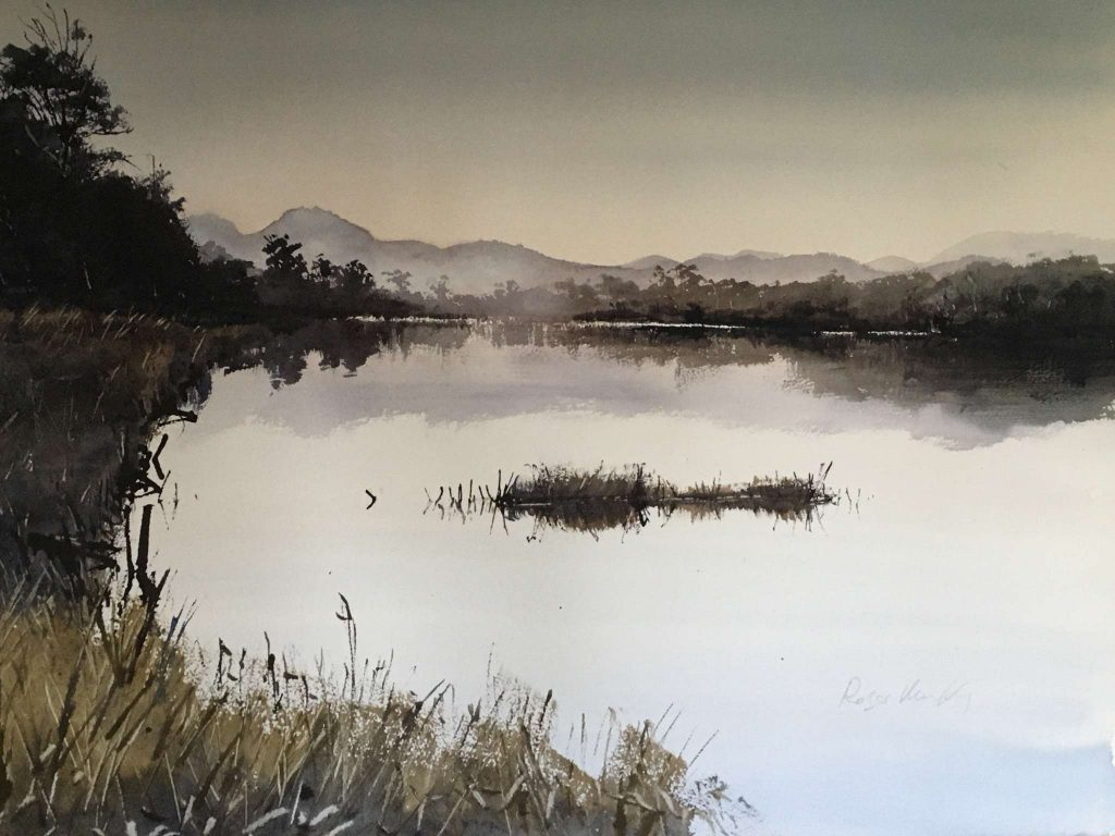 'Huon River' - SOLD - watercolour, painting 52 cm H x 72 cm W, matted