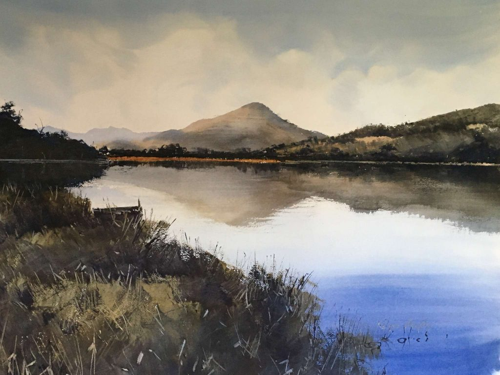 'Huon River Reflections' - SOLD - watercolour, painting 52 cm H x 72 cm W, matted