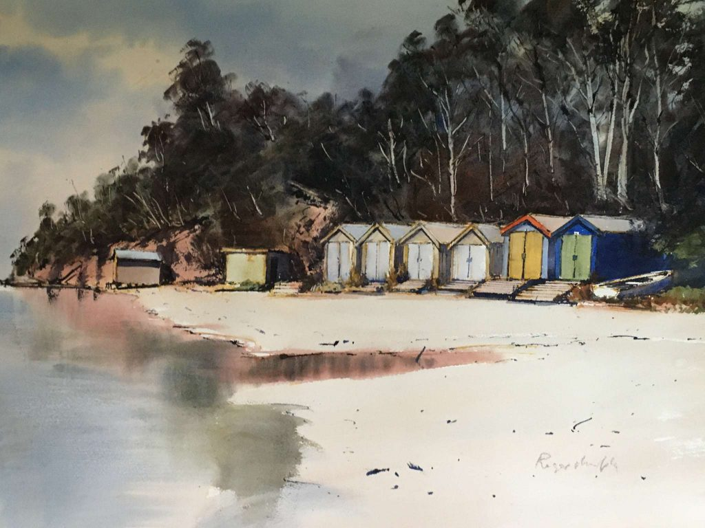 'Boat Sheds, Coningham' - SOLD - watercolour - painting 52 cm H x 72 cm W - matted