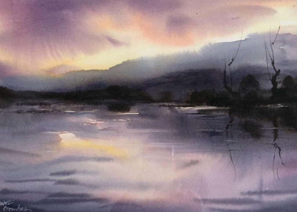 'Towards Evening' - watercolour - painting 25 cm H x 34 cm W - frame 46 cm H x 55 cm W