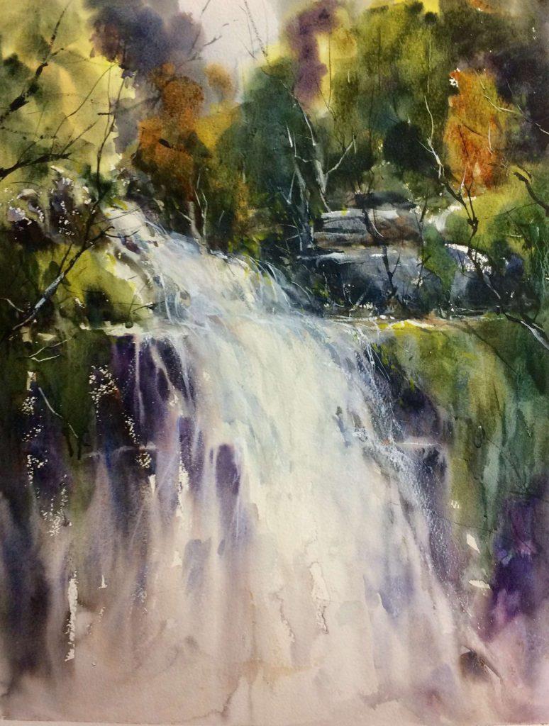 'Dancing Waters - Tasmanian Rainforest', watercolour, painting 69 cm H x 53 cm W, frame 94 cm H x 77 cm W