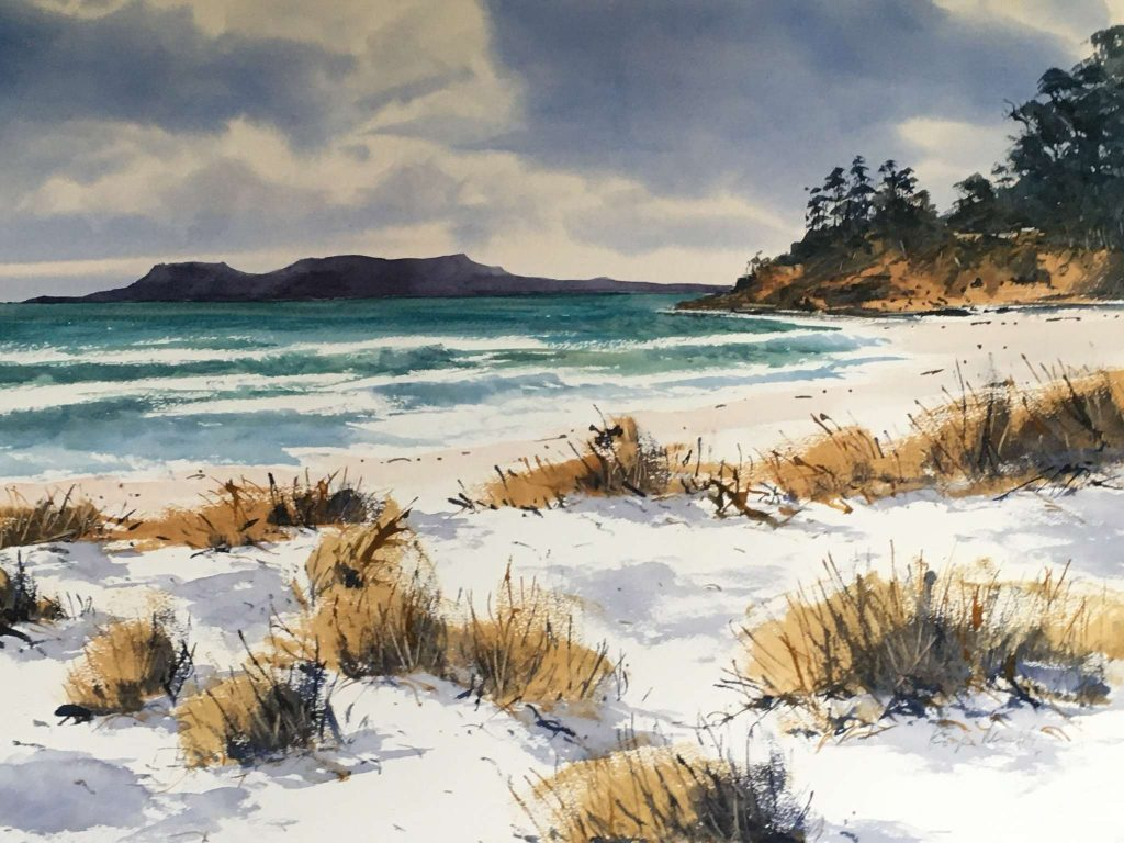 'Maria Island from Spring Beach', watercolour, painting 52 cm H x 75 cm W, matted