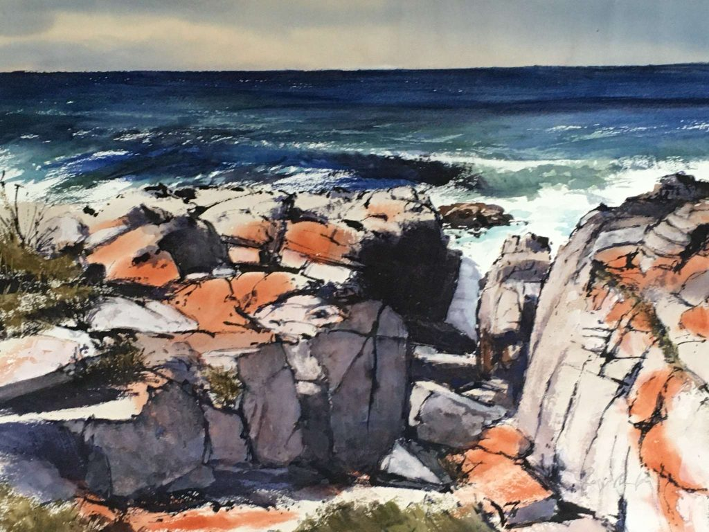 'Falmouth Surf and Rocks' - SOLD - watercolour - painting 52 cm H x 75 cm W - matted