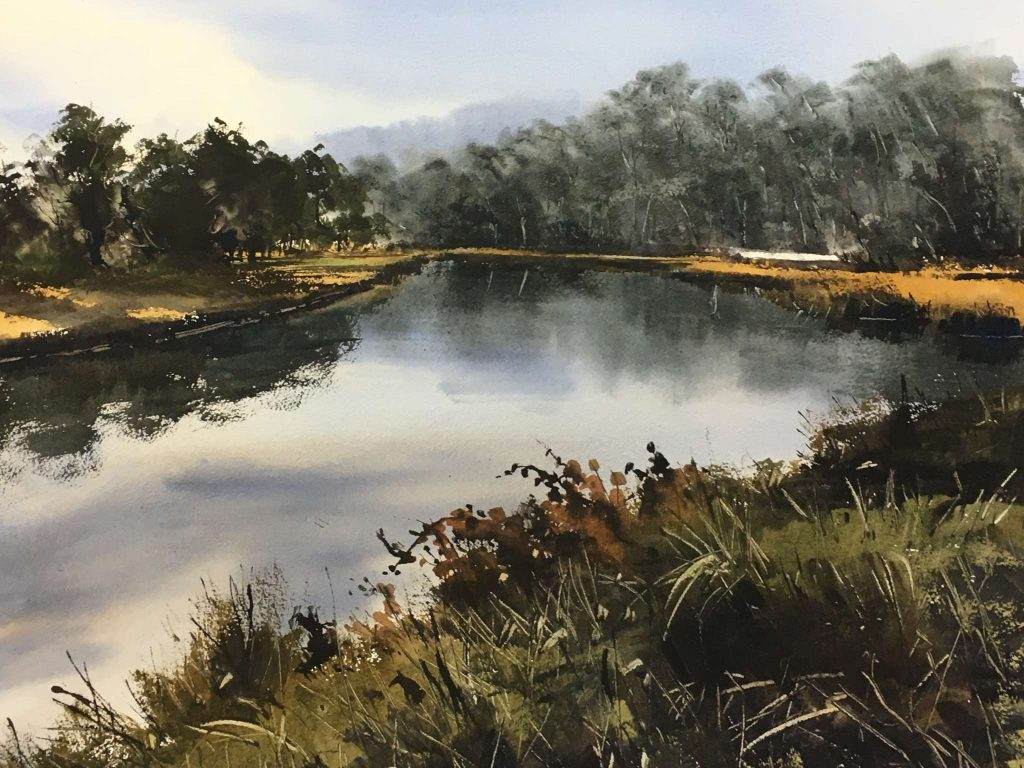 'Reflections, Browns River' - SOLD - watercolour, painting 52 cm H x 75 cm W, matted