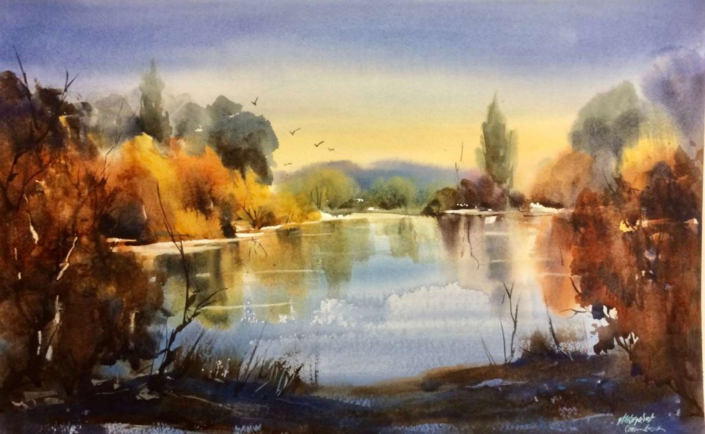 'Blue and Gold - Mersey River' - watercolour - painting 35 cm H x 54 cm W - frame 60 cm H x 72 cm W