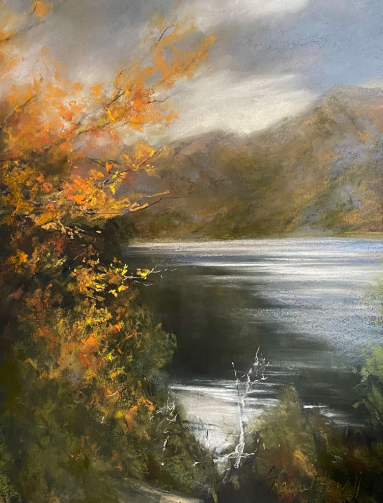 'Crater Lake' - SOLD - pastel - painting 62 cm H x 48 cm W - frame 87 cm H x 72 cm W