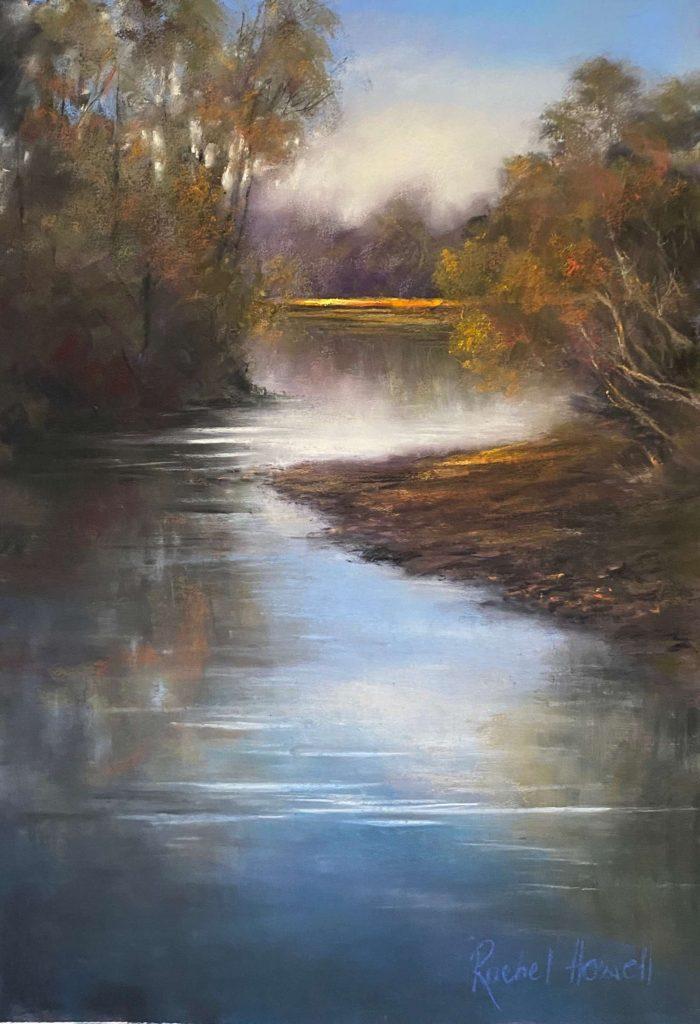 'Masseys Creek Yorktown' - SOLD - pastel - painting 65 cm H x 45 cm W - frame 90 cm H x 70 cm W