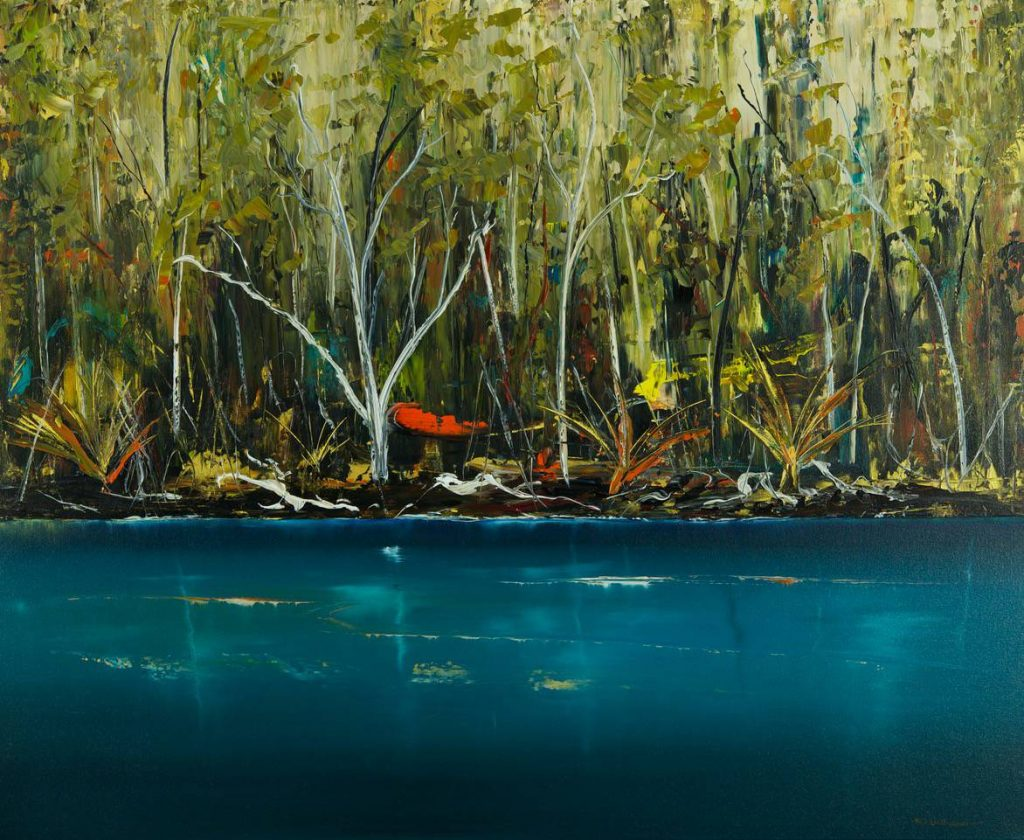 'Cockle Creek Series (1245) - S.E. Tasmania' - synthetic polymer on canvas - painting 112 cm H x 137 cm W - not framed