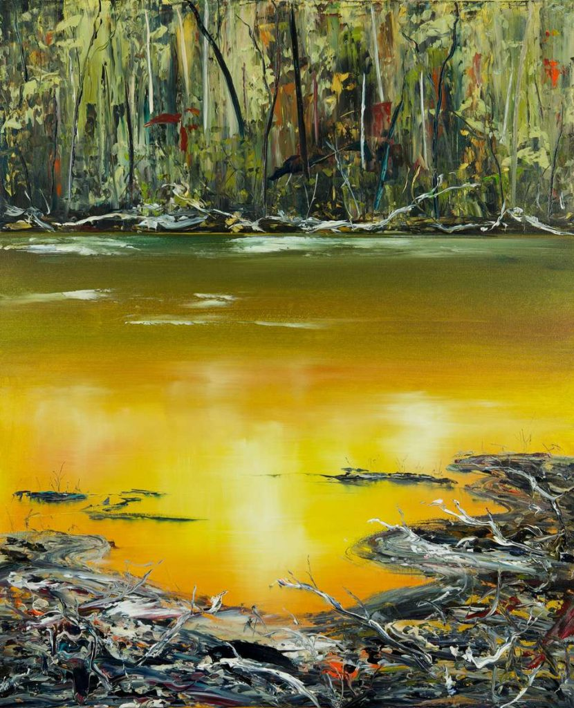 'Collingwood River Series (1246) - West Coast Tasmania' - synthetic polymer on canvas - painting 137 cm H x 112 cm W - not framed