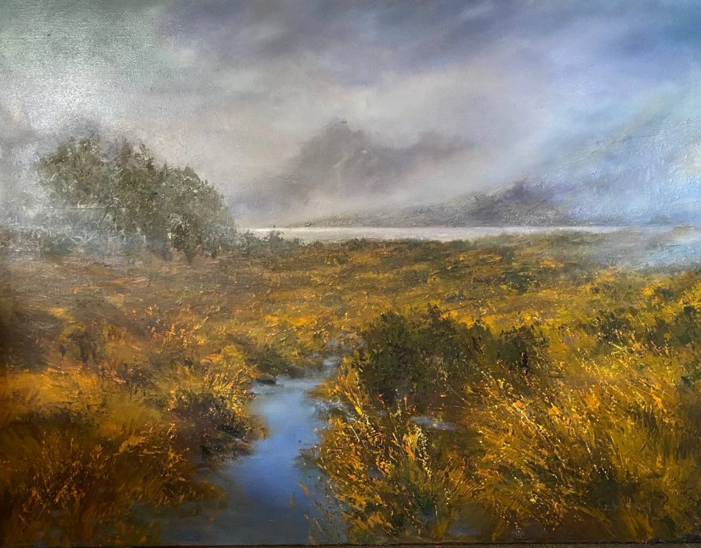 'Snow Clouds - Cradle Mountain' - SOLD - oil on linen - painting 121 cm H x 160 cm W - not framed