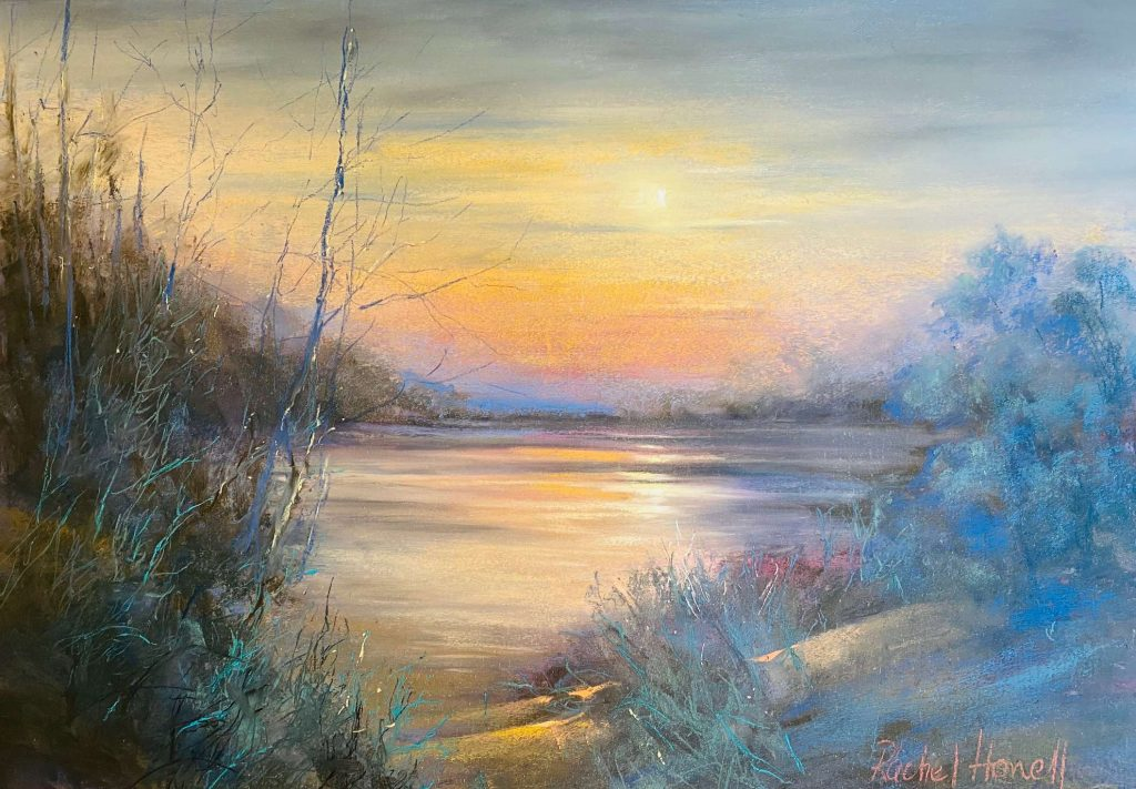 'Winter Morning on the Tamar' - pastel - painting 45 cm H x 65 cm W - frame 70 cm H x 89 cm W