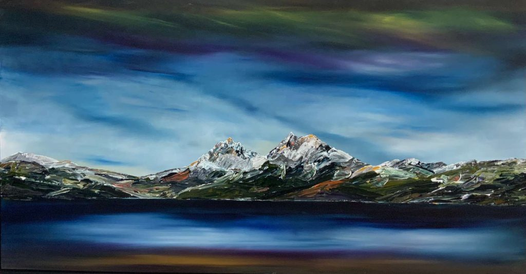 'Snow Drifts at Dove Lake' - SOLD - acrylic on linen - painting 101 cm H x 200 cm W - frame 105 cm H x 204 cm W