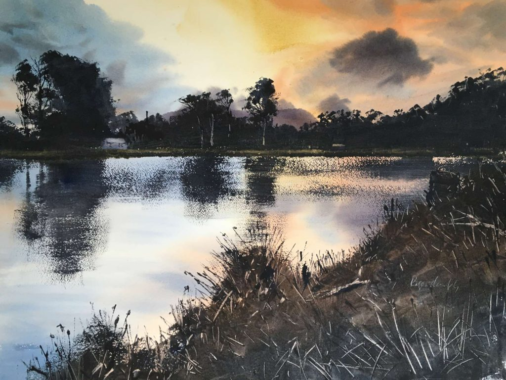'Sunset - Browns River, Kingston' - watercolour - painting 52 cm H x 72 cm W - matted