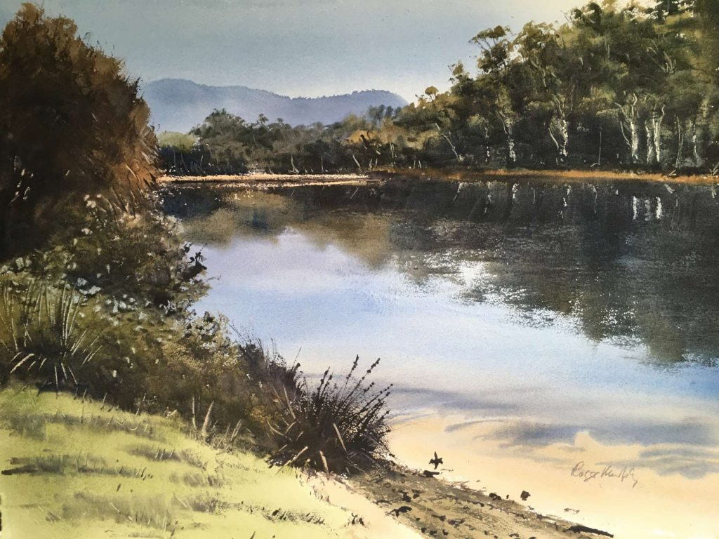'Blue Day - Browns River, Kingston Beach' - SOLD - watercolour - painting 52 cm H x 72 cm W - matted