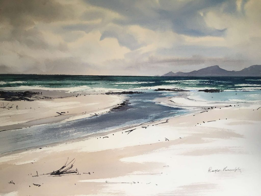 'Douglas River running to the sea' - watercolour - painting 52 cm H x 72 cm W - matted