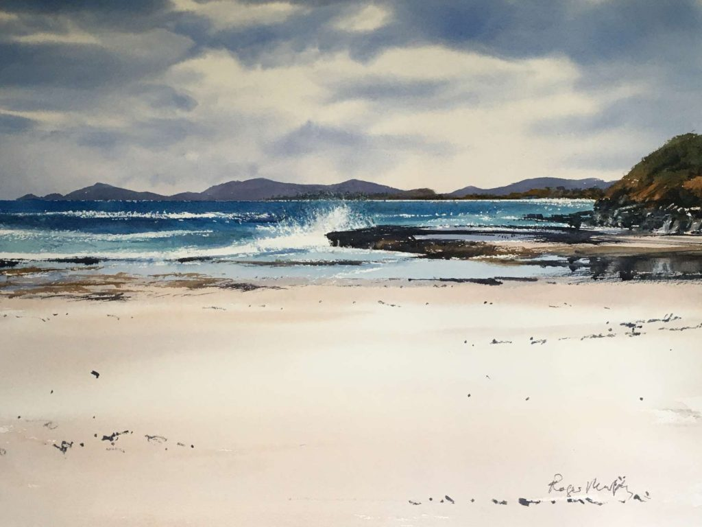 'Surf at Douglas River looking towards Bicheno' - watercolour - painting 52 cm H x 72 cm W - matted