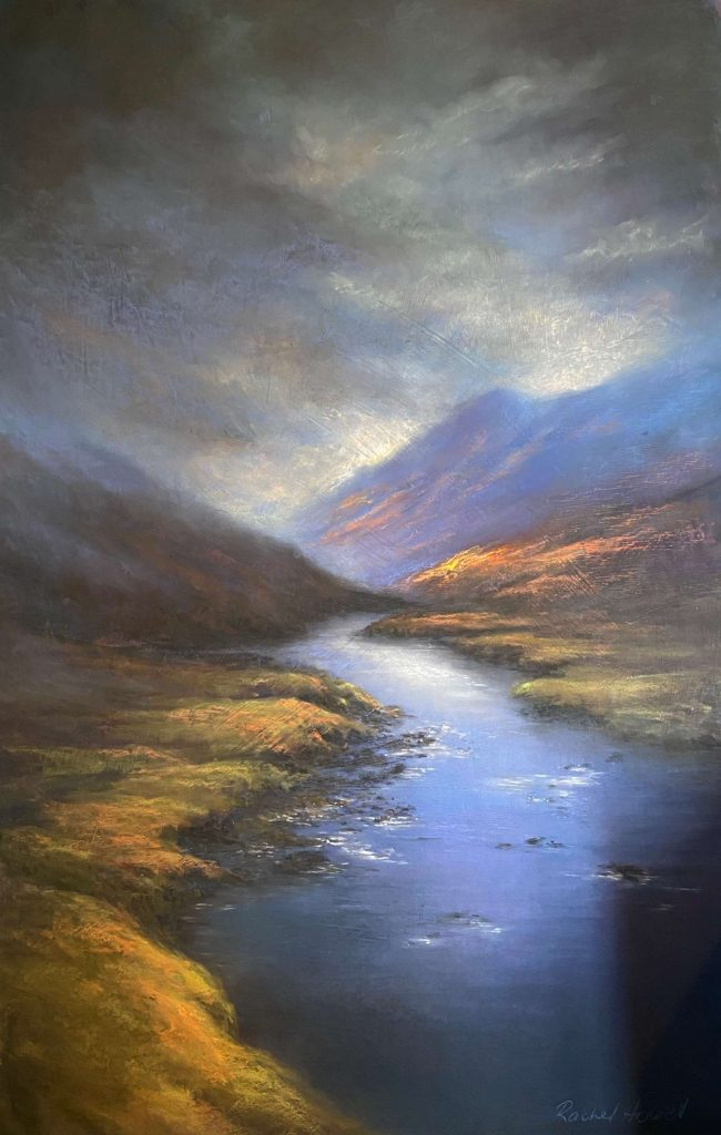 'Afternoon Storm, Vale River' - SOLD -pastel - painting 136 cm H x 85 cm W - frame 158 cm H x 107 cm W