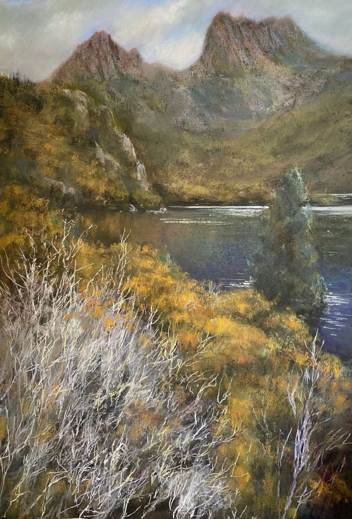 'Cradle Mountain and Dove Lake' - SOLD - pastel - painting 97 cm H x 67 cm W - frame 125 cm H x 94 cm W