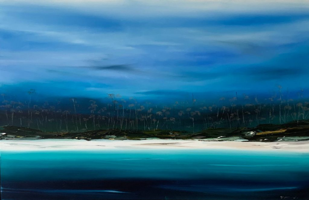 'Barnes Bay, Bruny Island' - acrylic on linen - painting 96 cm H x 150 cm W - frame 100 cm H x 154 cm W