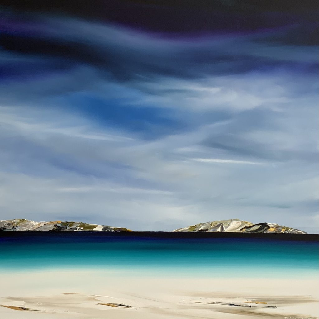 'The Gulch - Bicheno' - acrylic on linen - painting 110 cm H x 110 cm W - frame 114 cm x 114 cm W